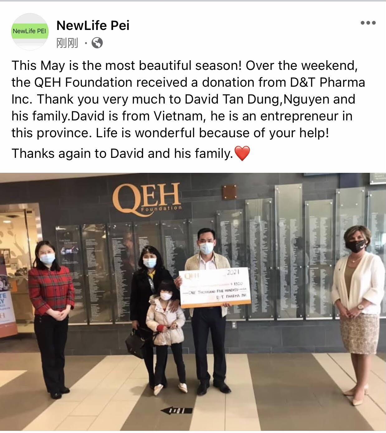 Donation to QEH Foundation